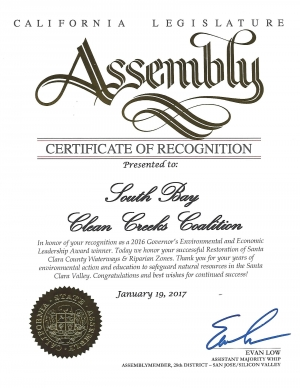 January 19, 2017 the State of California Assembly issued this Commendation